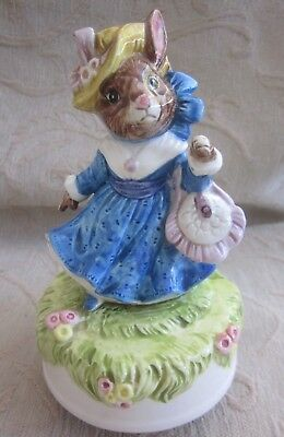 vintage SCHMID hand painted porcelain LADY RABBIT rotating MUSICAL FIGURINE