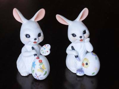 """Easter Bunny Porcelain Figurines Decorating Eggs ~ 4.5"""" tall"""