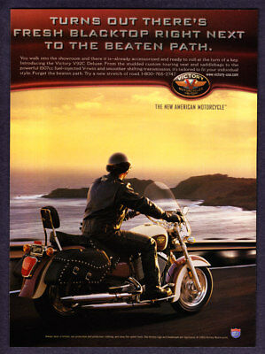 """2001 Victory V92C Deluxe Motorcycle photo """"Ready To Roll"""" promo print ad"""