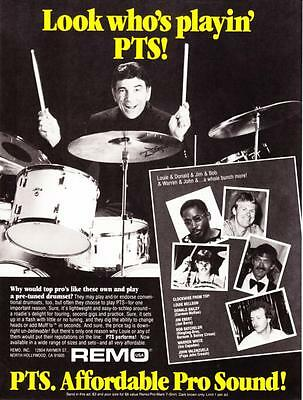 """1984 Drummer Louie Bellson photo """"Look Who's Playin'"""" PTS Drumset print ad"""