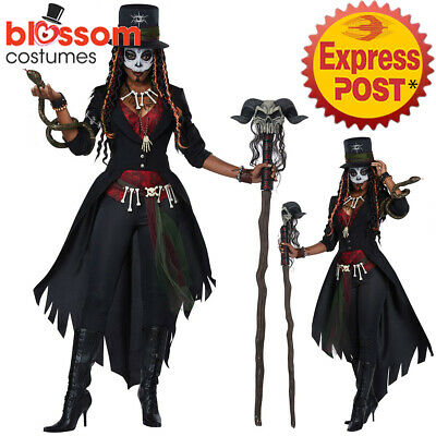 CA709 Voodoo Magic Witch Doctor Ritual Skeleton Day Of The Dead Womens Costume