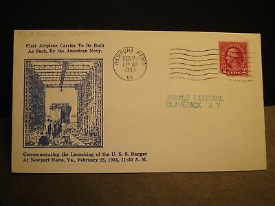 USS RANGER CV-4 Naval Cover 1933 Launch Cachet Newport News, VA