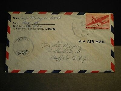 NAVY #1504 Midway Island (Operating Base) Naval Cover 1944 WWII NAS w/ letter