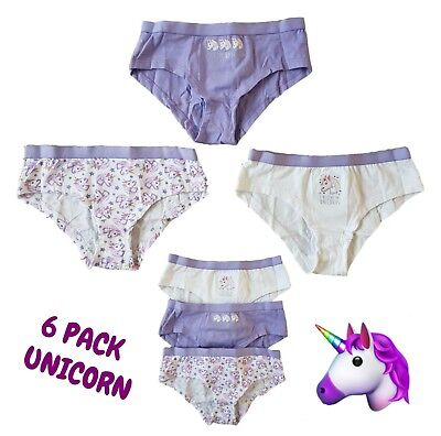 6 x Pairs Girls Knickers Briefs Underwear UNICORN EMOJI Character Age 2 -12 BNWT