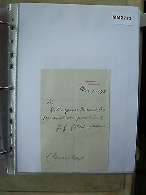 M2771 Document. Cottingham, Solicitor, Chesterfield. Re Sale of Horses. 1872