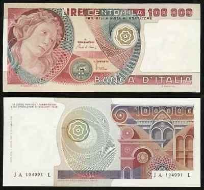 1980 Nice 100000 Lire Banknote Bank of Italy Crisp Extremely Fine Pick No. 108b