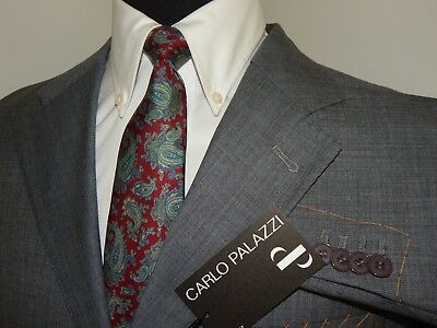 Men/'s Carlo Palazzi Italy Classic Fit Light Gray Three Button Pleated Wool Suit