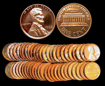 Roll of 50 1962 Proof Lincoln Cents