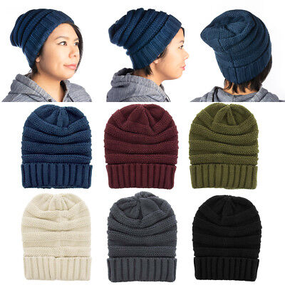 Womens Slouchy Ribbed Knit Chunky Beanie Winter Hat Warm Cute Lightweight Chic