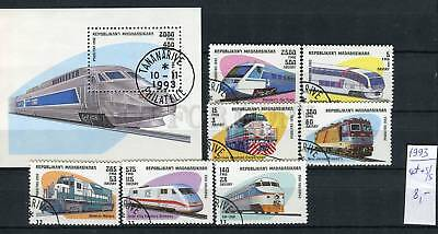 265161 Madagascar 1993 year used set+S/S TRAIN locomotives