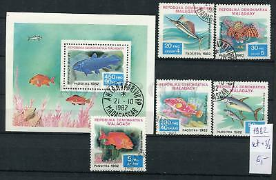 265159 Madagascar 1982 year used stamps set+S/S FISHES