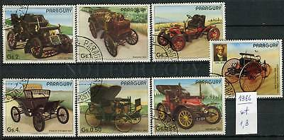 266228 Paraguay 1986 year used stamps set CARS history