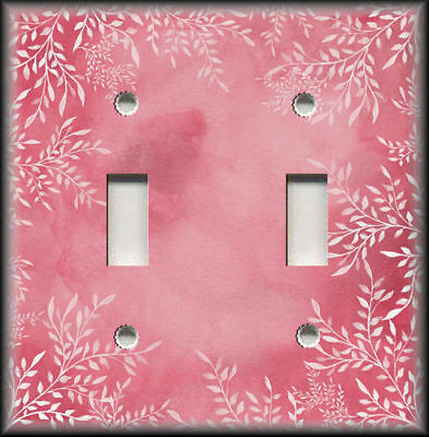 Metal Light Switch Plate Cover - Vintage Floral Pink White Floral Art Home Decor