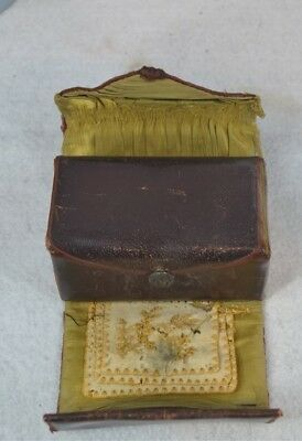 antique sewing roll up leather box kit Shaker Community original rare