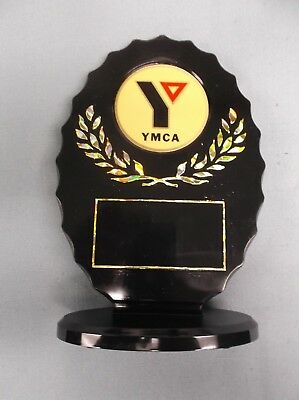 full color YMCA trophy black oval style
