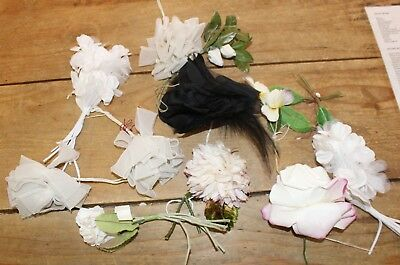 Lot of Antique Millinery Fabric Flowers Black White Roses Unused Old Store Stock