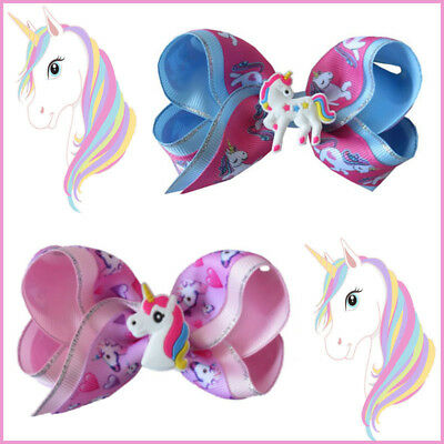 "10 BLESSING Girl 4"" Two Tone ABC Bow Clip Unicorn Pony Hairbow Silver Grosgrain"