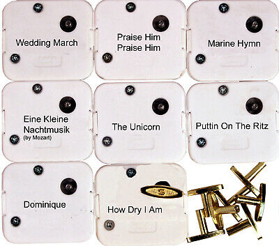 18 Note Wind Up Music Box Musical Movements w/ Keys - 8 Popular Tunes Set 2