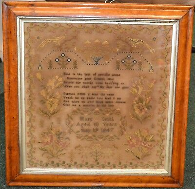 Antique 1847 Sampler In Maple Frame- Mary Smith Aged 10 Yrs- Newark/ Derby