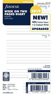 Filofax - 2019 - Personal - Week on Two Pages Calendar Refill - Lined - English