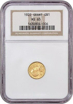 1922 Grant without Star G$1 NGC MS65 - Classic Commemorative - Gold Coin