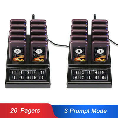 2x Restaurant Wireless Guest Paging Queuing System Transmitter+20xPagers 433MHz