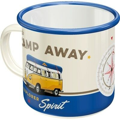Emaille Becher VW Bulli T1 T2- Let´s Camp Away - Kaffee Tee Tasse Camping cool !