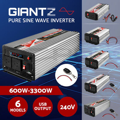 Giantz 600W-3300W Pure Sine Wave Power Inverter 12V-240V Camping Boat Caravan
