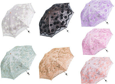 Lace Embroidered Parasol Sun/Rain/Snow Anti-UV Folding Wedding Bridal Umbrella