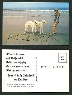 c1958 Vintage Advertising Postcard Wolfschmidt Vodka with Borzoi Dogs