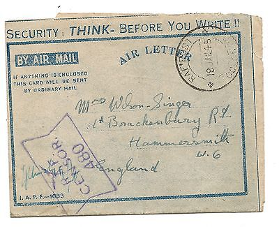 WW2 Japanese Submarines RAFPOST Ceylon Security Censored Cover Jan 1945