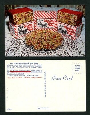 1964 Vintage Advertising Postcard Claxton Fruit Cake New York World's Fair
