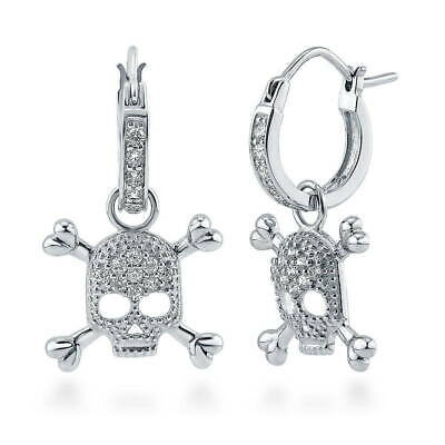 BERRICLE Sterling Silver Cubic Zirconia Skull Bones Fashion Dangle Drop Earrings