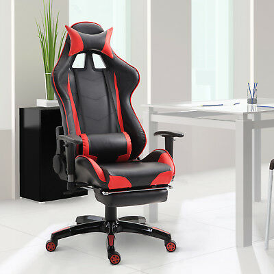 High Back Racing Office Chair Gaming Bucket Seat Swivel Recliner w/ Footrest Red