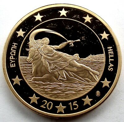 GREECE HELLAS 100 EURO 2015 Specimen Proof, Gold Plated 40mm 28g, Rare R6.2