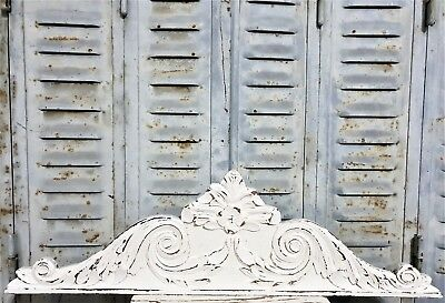 Gothic Shabby Scroll Leaves Pediment Antique French Carved Wood Salvaged Crest