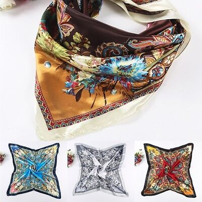 0ff37132572 LADIES FLORAL BANDANA Square Head Neck Scarf Wrap Satin Silk 90cm Vintage  Shawl