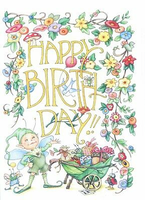 Mary Engelbreit-HAPPY BIRTHDAY Elf Insects-Happy Birthday Card-NEW!