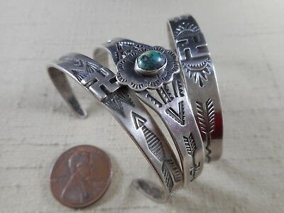 3 FRED HARVEY era COIN SILVER Navajo bracelets with whirling log designs