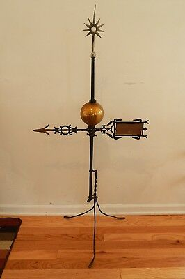 Antique Weathervane Directional Arrow Colored Glass Ball Star Finial
