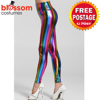 K597 1980s 1990s Neon Rainbow Leggings Disco Costume Pants Madonna Cyndi Lauper