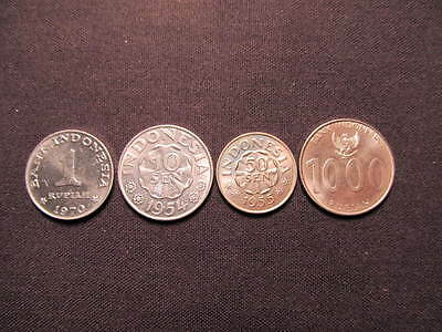 (4) Indonesia Coins - 4 Coins From Indonesia Included In This Lot - Rupiah Sen