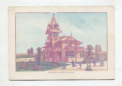 Vintage 1876 Centennial Exposition Lithographic Card MICHIGAN STATE BUILDING