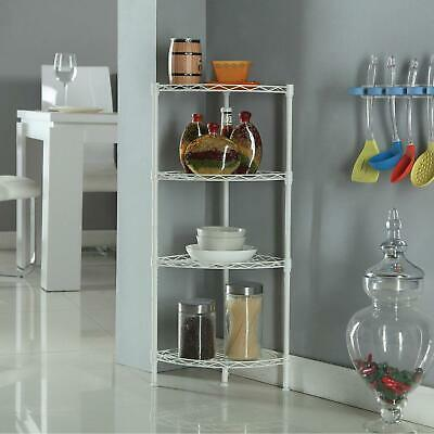 Corner Storage Rack 4 Tier Rack Shelf Wire Shelving Garage Kitchen Bathroom Home