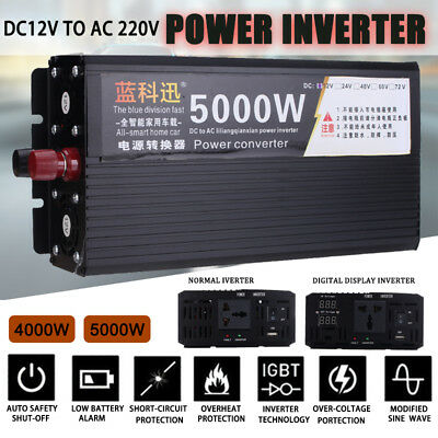 5000W,10000W Power Inverter DC 12V To AC 220V Converter Modified Sine Wave LCD