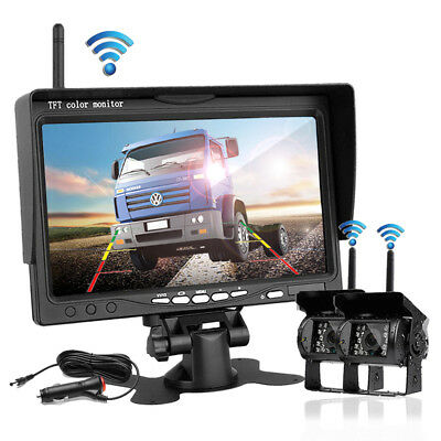 "7"" Monitor + 2 X Wireless Rear View Backup Camera Night Vision For RV Truck Bus"