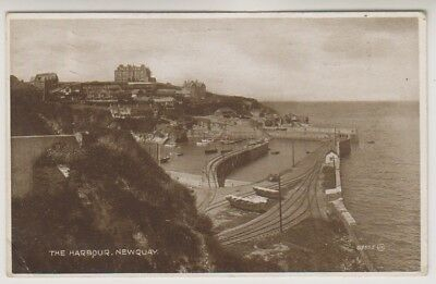 Cornwall postcard - The Harbour, Newquay - P/U 1927 (A1389)