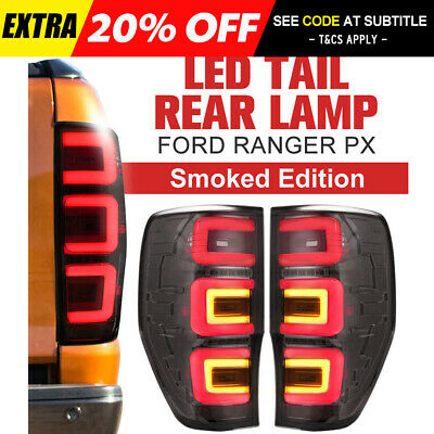 Smoked LED Tail Rear Lamp Lights Pair LH+RH For Ford Ranger PX T6 MK2 XL XLT XLS