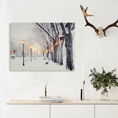 LED Tree Snow Light-up Canvas Painting Print Home Wall Art Picture Decor