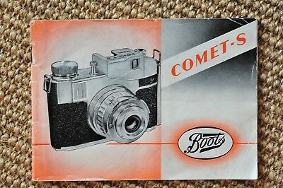 Vintage Boots Comet-S camera instruction manual. 1950s. Rare and complete.